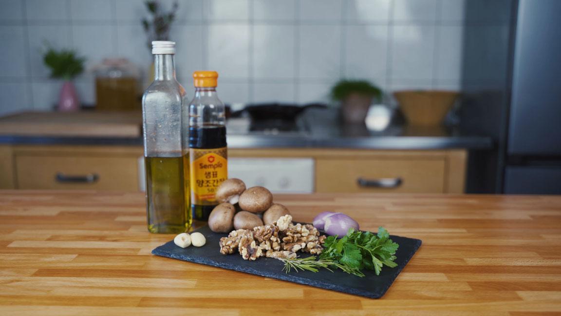 Veganer Pilz Walnuss Aufstrich - alle Zutaten
