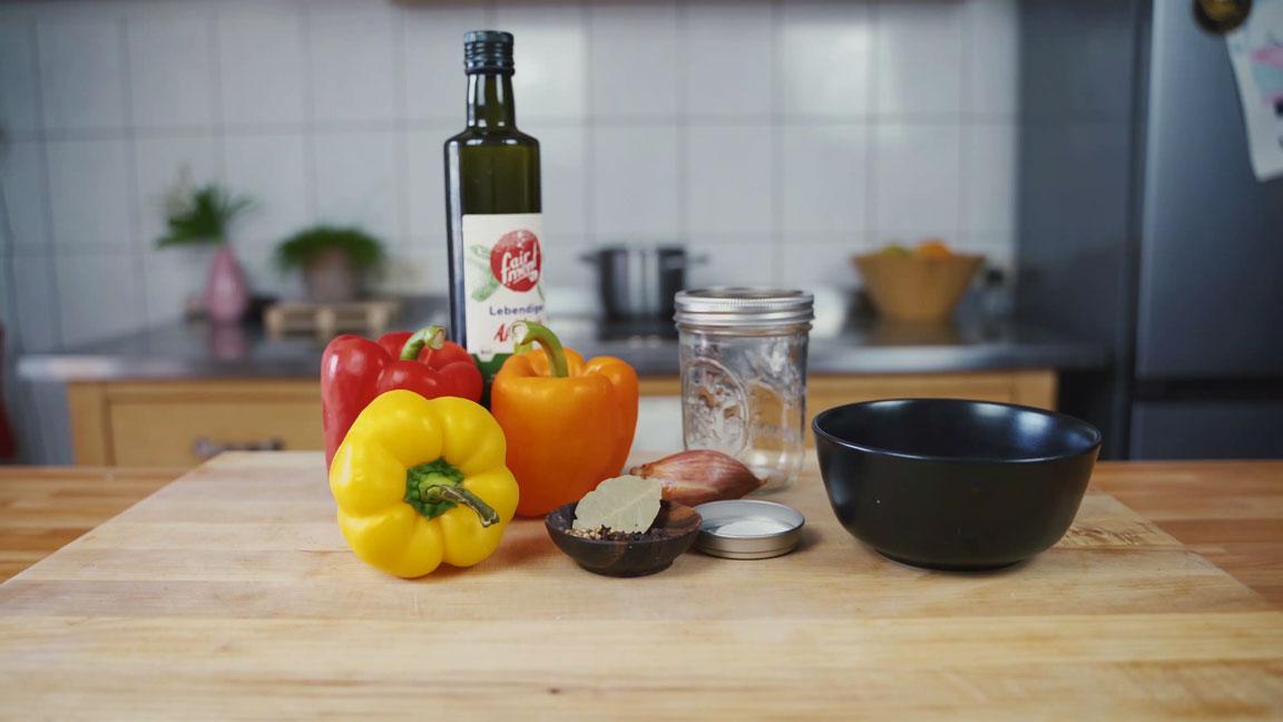 Paprika einlegen - alle Zutaten