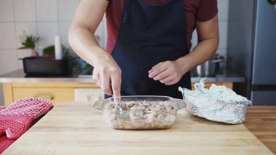 Rillette - Fleisch mischen