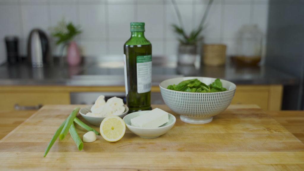 Spinat Feta Aufstrich - alle Zutaten