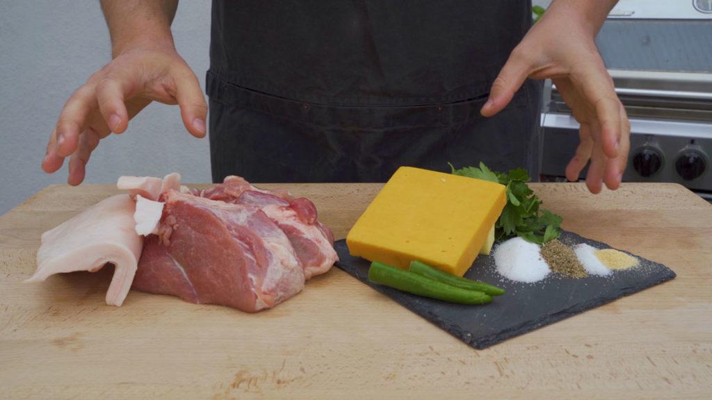 Jalapeno-Käsebratwurst-alle Zutaten