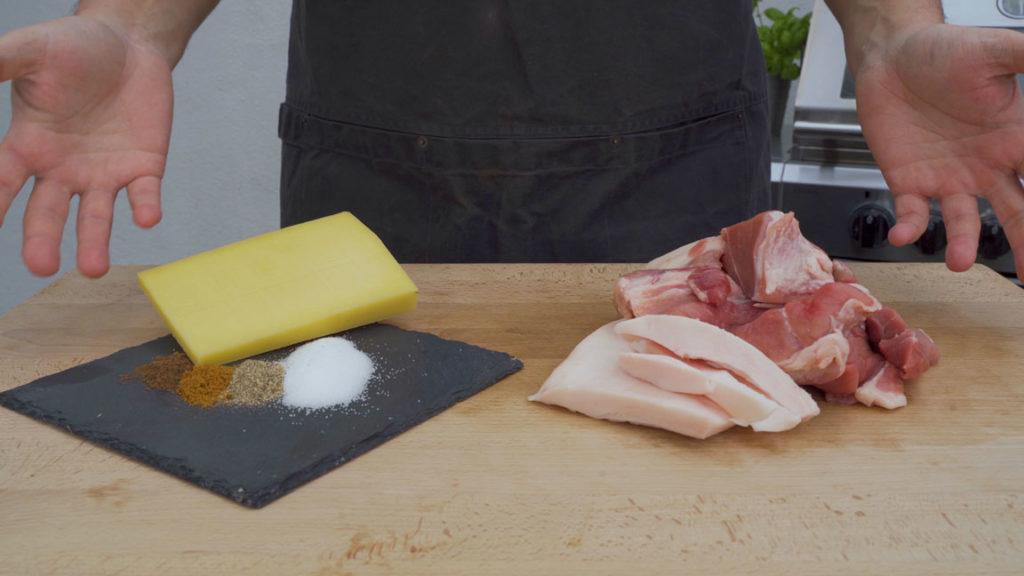 Käsebratwurst-alle-Zutaten